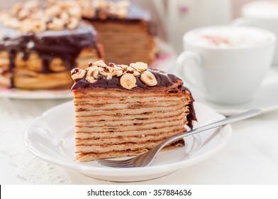 A Slice of Chocolate, Hazelnut and Cottage Cheese Crepe Cake, Maslenitsa