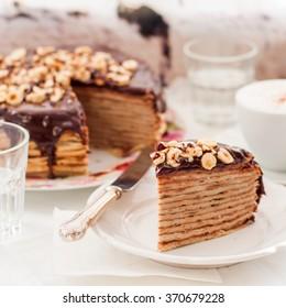 A Slice of Chocolate, Hazelnut and Cottage Cheese Crepe Cake, Maslenitsa, square