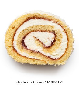 Slice of coconut swiss roll with cream and jam isolated on white from above.