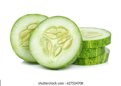 Slice Cucumber isolated on the white background.