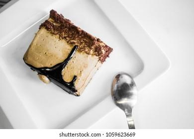 Slice of dark chocolate cake