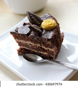 slice of delicious chocolate cake in white flat plate, closeup
