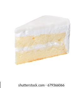 Slice of delicious coconut cake isolated on white