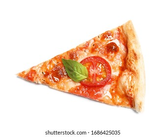 Slice of delicious pizza Margherita isolated on white, top view - Shutterstock ID 1686425035
