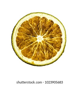 Slice of dried lime on a white background