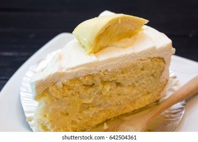 The slice of durian cake ,seasoning southeast asian fruit