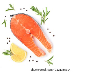 Slice of fish salmon with lemon, rosemary isolated on white background with copy space for your text. Top view. Flat lay