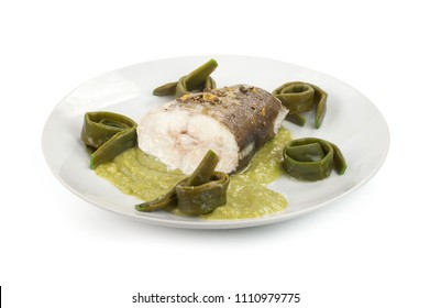 slice of fish with vegetable sauce