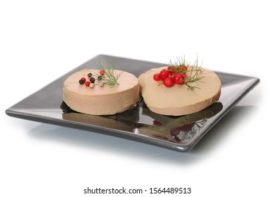 slice of foie gras on a white background