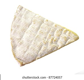 Slice Of French Brie Cheese On White Background, Top View