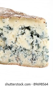 Slice of french musty cheese - Bleu basque variety (macro shot)