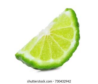 slice of fresh bergamot isolated on white background