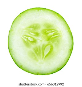 Slice of fresh cucumber isolated on white background.