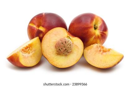 slice fresh nectarine on a white background
