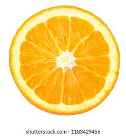 Slice of fresh orange  isolated on white background