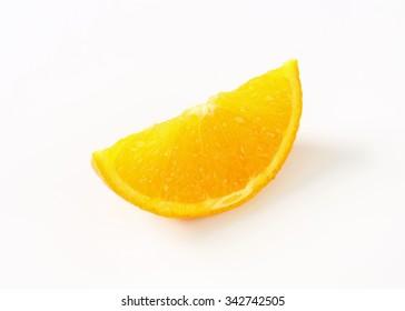 slice of fresh orange on white background