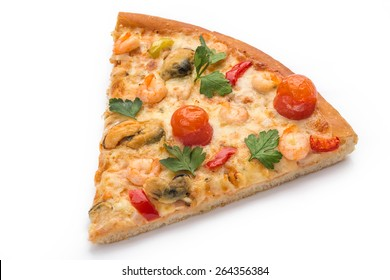 Slice of fresh pizza with vegetables & meat isolated on white background
