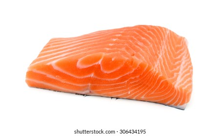 slice of fresh raw salmon on white background