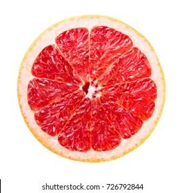 Slice of fresh ripe grapefruit isolated on white background