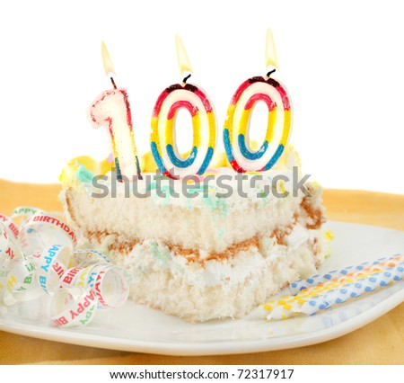 Slice Of Frosted Festive Birthday Cake With Candles And Ribbon Celebrating 100 Year Old Or