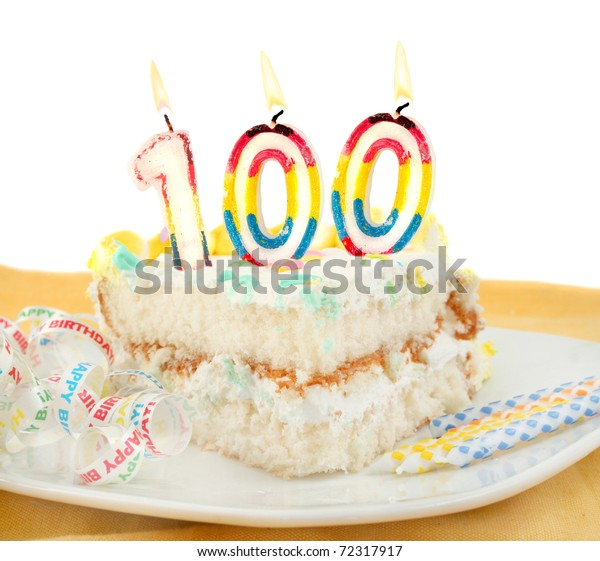 Slice of frosted festive birthday cake with candles and ribbon celebrating 100 year old birthday or anniversary