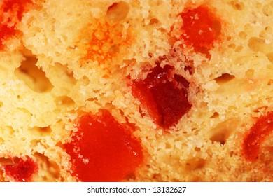 slice of fruit-cake background close up