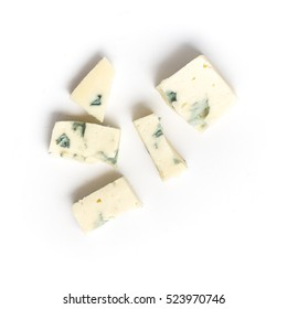 Slice of Gorgonzola Blue Cheese. Roquefort isolated on white background