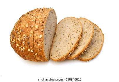 Slice grain bread isolated on white background