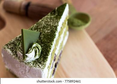 the slice of green tea cake