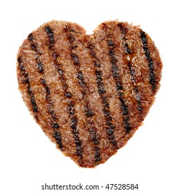 slice of grilled meat in shape of a heart