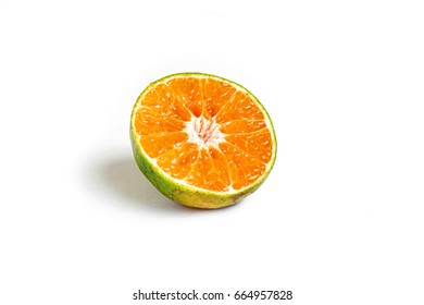 Slice half orange fruit on white background