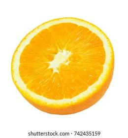 Slice of Half Orange isolated on white background