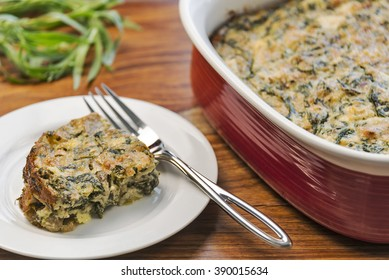 A slice of healthy spinach casserole made with spinach, eggs, cheese, mushrooms and water chestnuts.