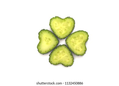 Slice of heart shaped cucumber
