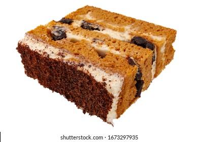 slice of honey cake closeup isolated on a white background