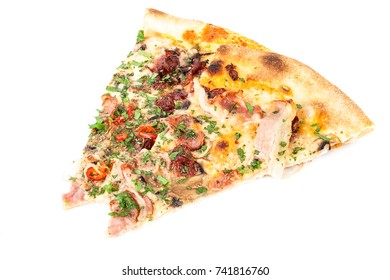 Slice of hot delicious homemade pepperoni italian pizza with salami mozzarella cheese and tomato sauce. Traditional fast food dish concept. Detailed close up studio shot isolated on a white background