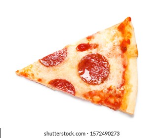 Slice of hot delicious pepperoni pizza on white background, top view