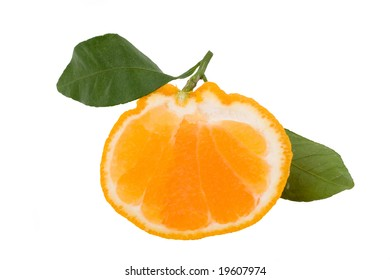 Slice of isolated hallabong (citrus spharocarpa) with two green leaves. Hallabong is a special kind of orange growing only in Korea.