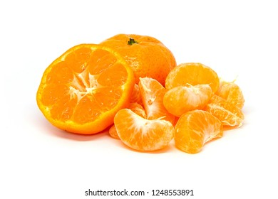 Slice isolated tangerine mandarine orange, clean mandarin, small mandarin, mandarin Isolated white background.Tangerines or mandarin orange fruits and peeled segment. Pile of orange segments and half.