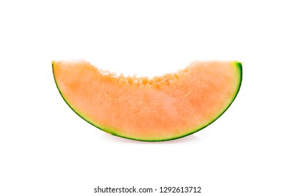 slice of japanese melons on white background