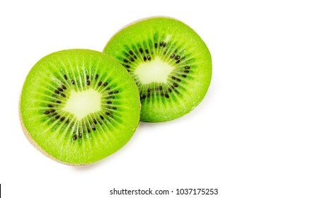 slice of juicy delicious and healthy ripe kiwi, isolated on white background, copy space, template.