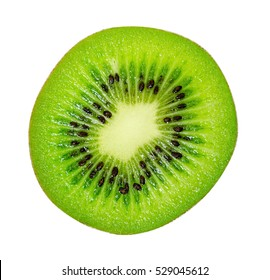 slice of juicy delicious and healthy ripe kiwi, isolated on white background