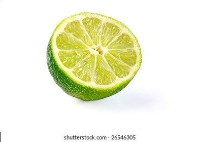 Slice of  juicy lime with clipping path.