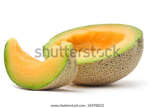 Slice of juicy melon studio isolated on white background