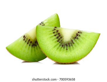 Slice of kiwi isolated on white background.