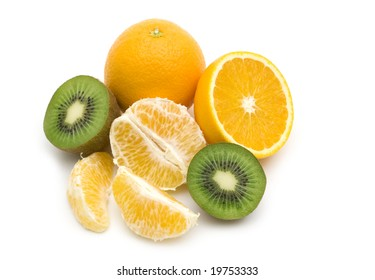slice kiwi and orange on white background