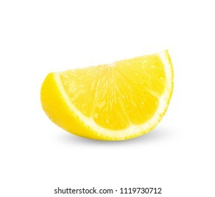 Slice of lemon isolated on white clipping path.