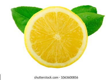 slice of lemon with leaves  isolated on white