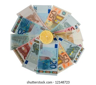 Slice of lemon on euro notes