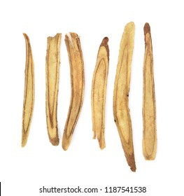 Slice Licorice roots on white background
